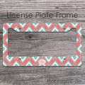Coral ikat aquamarine geometric pattern license car tag